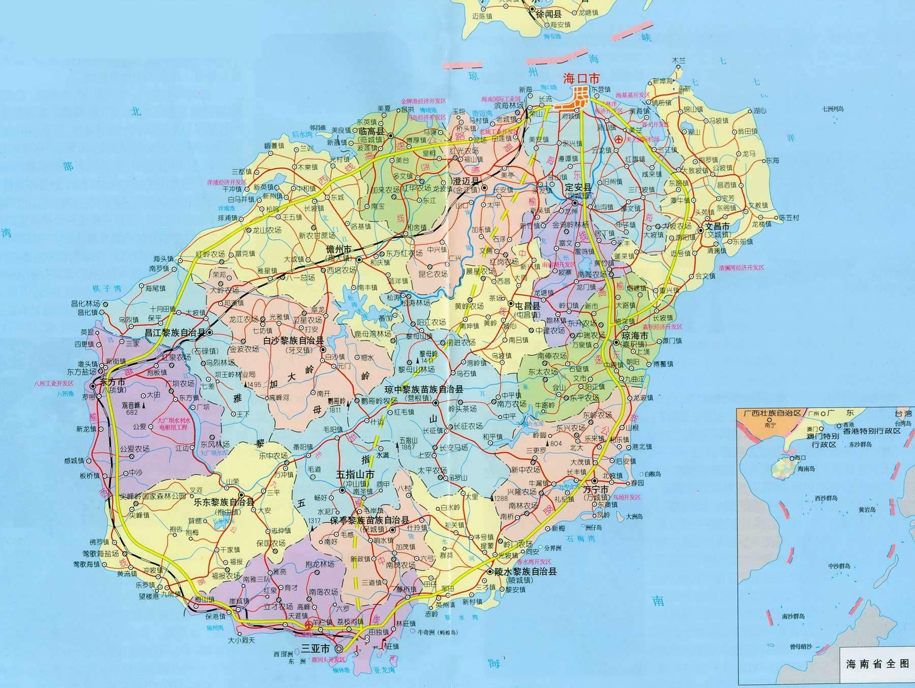 海南地图 海南的热门景区景点