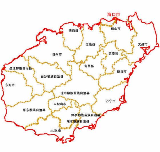 海南省地图 海南省街道地图