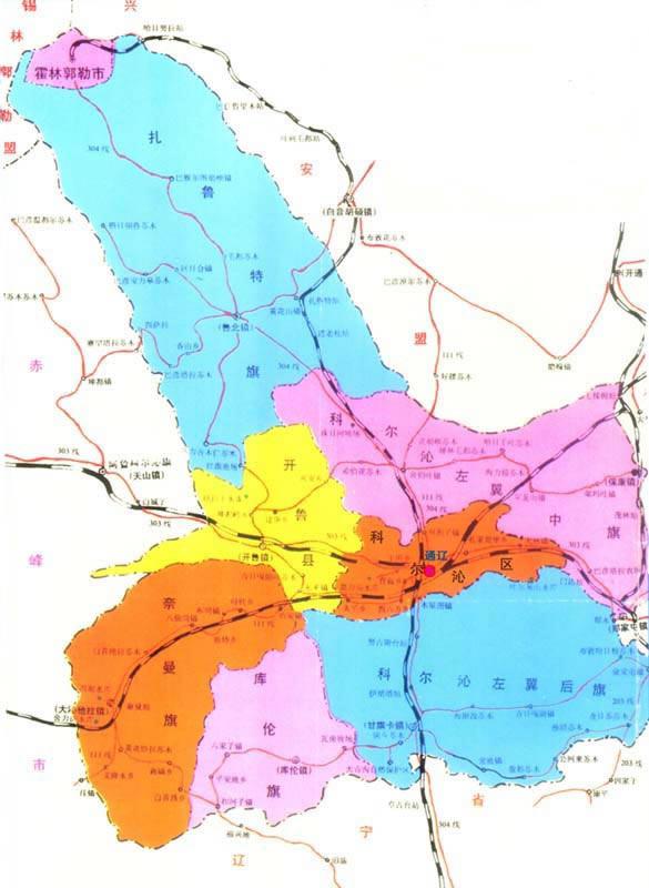 甘肃省行政地图_通辽市行政区划、交通地图、人口面积、历史变革、风景图片 ...