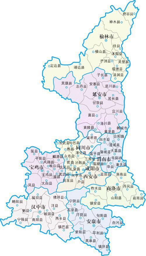 陕西省地图 陕西省街道地图
