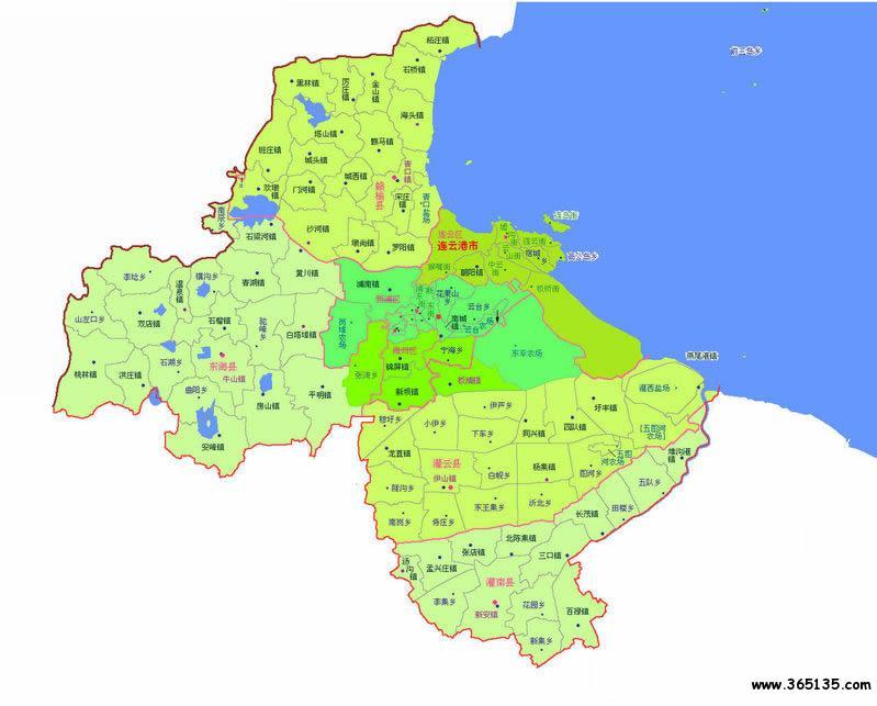 江苏 区划地图 >> 连云港市行政区划图图片