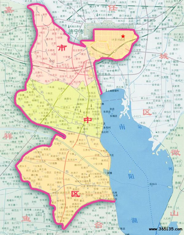 济宁市 市中区行政 区划图
