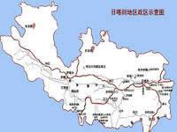 日喀则地区行政区划图